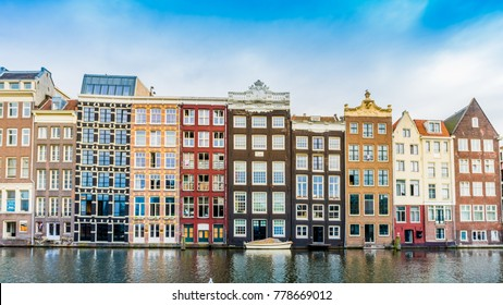Canal houses of Amsterdam, Netherlands. Traditional old buildings in Amsterdam