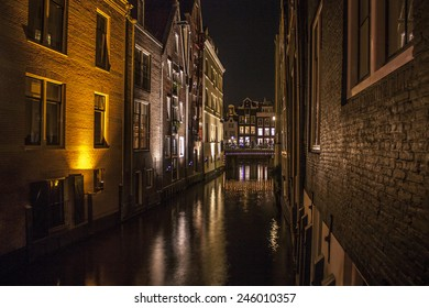 Canal and houses of Amsterdam at night