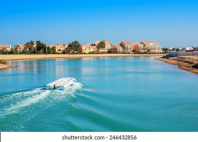 Canal and houses at El Gouna resort. Egypt, North Africa
