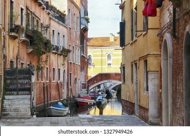 canal of Italy with boat. Venice
