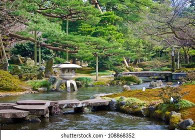 A Canal at Kenrokuen Garden in Kanazawa