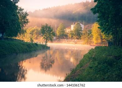 Canal in Limburg at sunrise. Limburg, Hesse, Germany.