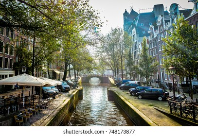 Canal in the morning, very near to Anne Frank's museum in Amsterdam, Netherlands