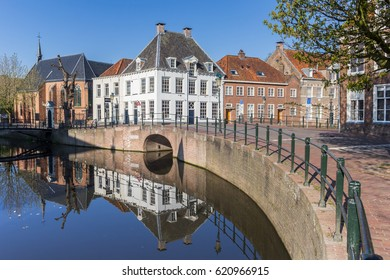 Canal with old buildings in the center of Amersfoort, Holland