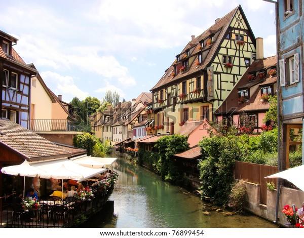 Canal in Petite Venice neighborhood of Colmar, France