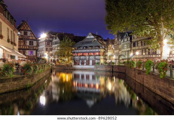 Canal in Petite-France district of Strasbourg, France at twilight