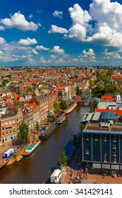 Canal Prinsengracht and Anne Frank House of Amsterdam. City view from the bell tower of the church Westerkerk, Holland, Netherlands.