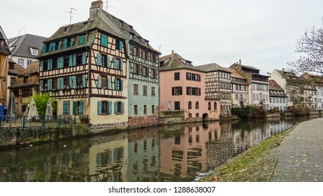 canal of river Ill and street in La Petite France (Little France) charming and historic quartier in Strasbourg city, Alsace region, northern France, Europe