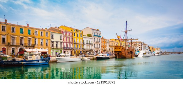 Canal of Sete, France. Panoramic view with colorful houses and boats.