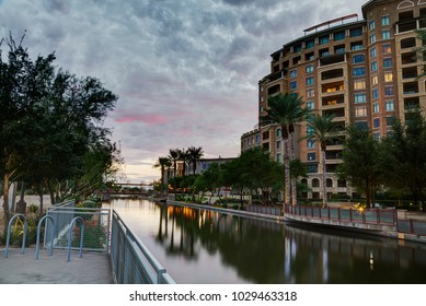 Canal at Southbridge of the Waterfront District in Scottsdale, Arizona USA. Part of the Salt River Project.