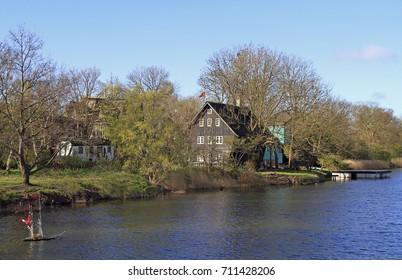 canal Stadsgraven and wooden houses in Copenhagen, Denmark