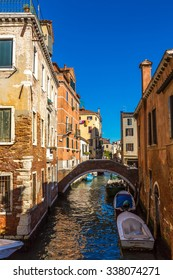Canal in a summer day in Venice, Italy