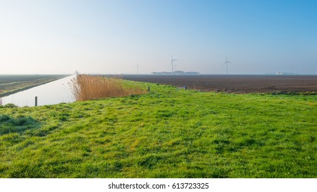 Canal through the countryside in spring at sunrise