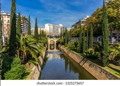 Canal Torrent de Sa Riera in street Passeig de mallorca in town centre of Palma de Mallorca, Mallorca, Balearic Islands, Spain