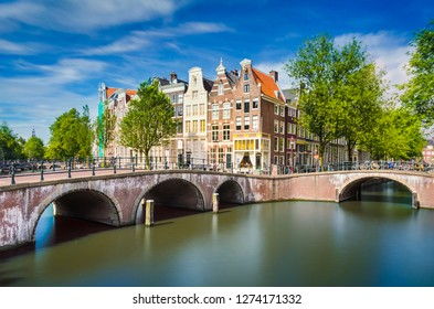 Canal with traditional buildings in Amsterdam, Netherlands