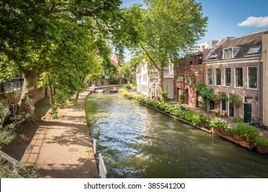 A canal in Utrecht, Netherlands in summer