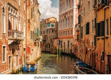 Canal in Venice, Italy. Architecture and landmarks of Venice