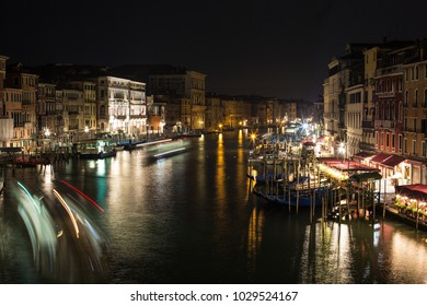 Canal in Venice, Italy at night