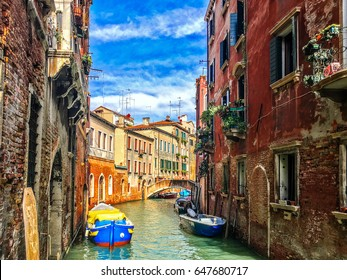 Canal in Venice. There are many small canals in this city. I like to walk to  peaceful part of town that show you real history. This photo like painting art. The furrow on building are classic.