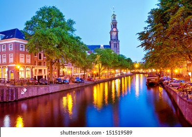 Canal and Western Church in Amsterdam