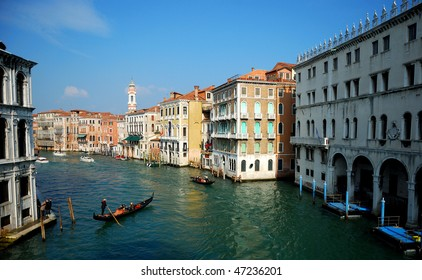 Canale Grande - Grand Canal in Venice, Italy - view from a bridge