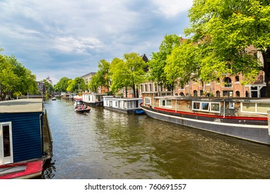 Canals of Amsterdam, Netherlands in a summer day