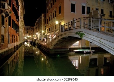 Canals and Bridges in Venice at Night