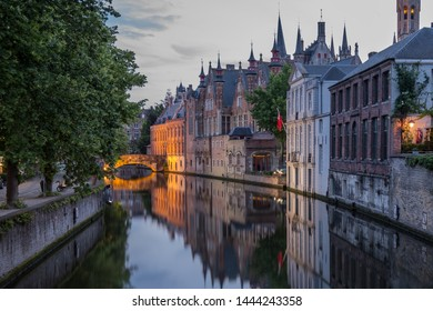 Canals of Bruges (Brugge), Belgium. Summer  evening view.