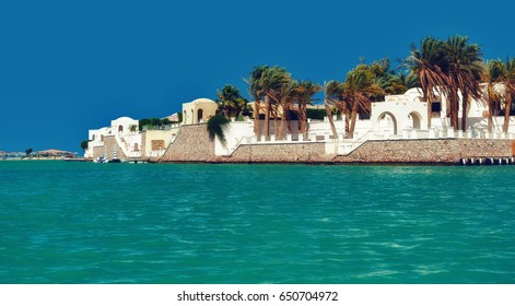Canals, buildings and resort equipment at El Gouna resort. Egypt, North Africa
