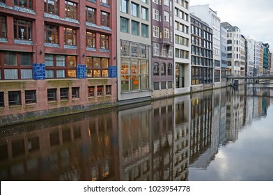 The canals of Hamburg on the Elbe River. Beautiful river channels in the old city of Hamburg. Winter Hamburg.