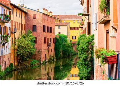 Canals in the old city of Mantua, Lombardy, Italy