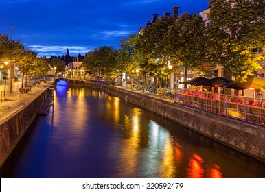Canals passing though beautiful city of Leeuwarden capital of Friesland in north of Netherlands