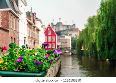 canals and streets of the ancient medieval district of Ghent, Belgium