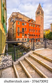 Canals and typical house, Venice, italy