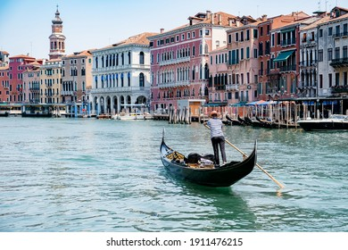 Canals of Venice Italy during summer in Europe,Architecture and landmarks of Venice. Italy Europe