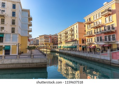 The canals of Venice like Qanat Quartier at the Pearl in Doha, Qatar in a late afternoon.