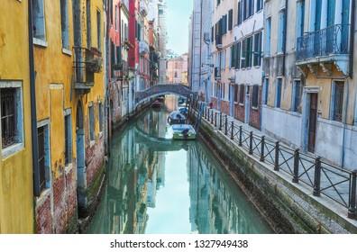 The canals venice veneto italy with bridge