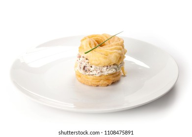 canape with cheese and tomatoes
