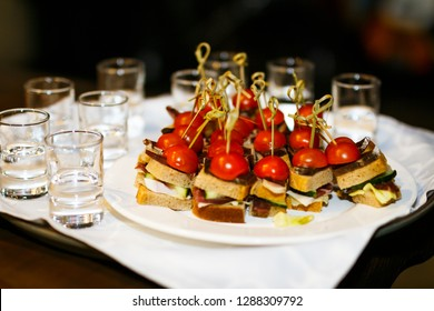 canape on the plate