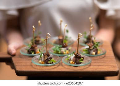 canape on slate platter