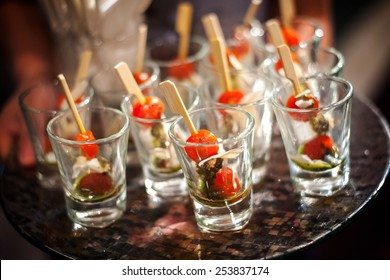 canape selection on slate platter