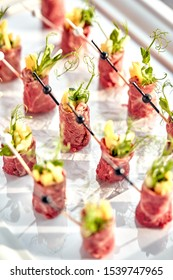 canapes beef with pineapple. Concept of food, restaurant, catering, menu