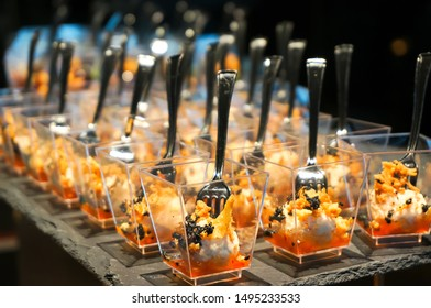 Canapes on the buffet table. Stand-up meal