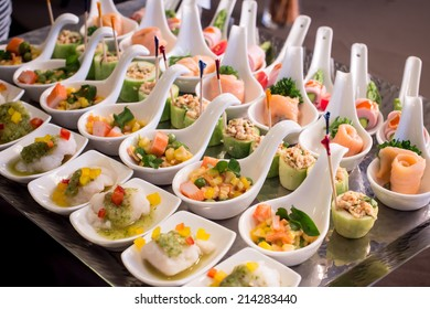 canapes on toothpicks , appetizer, pinchos , spanish food ,delicious finger food,