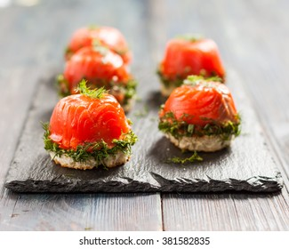 canapes with salmon and curd cheese