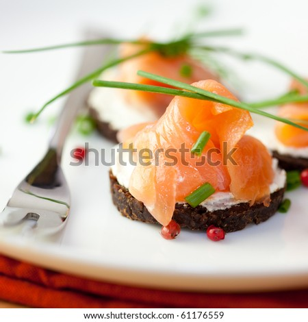 Canapes Smoked Salmon Soft Cheese Fresh Stock Photo (Edit
