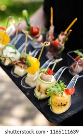 Canapes, snacks, buffet table, a tray with snacks in the hands of a girl in the outdoors, a waiter