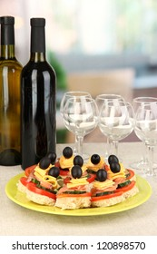 Canapes and wine in restaurant