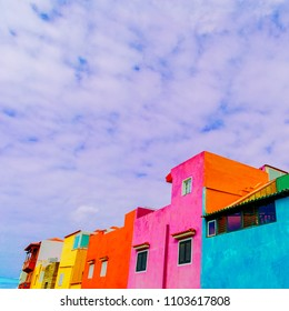 Canary island. Colorful houses. Colorful concept