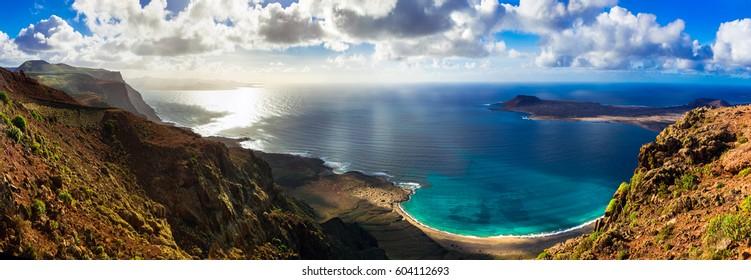Canary island Lanzarote - breathtaking panoramic view from Mirador del Rio